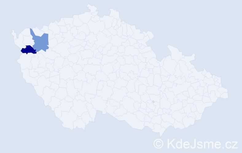 Příjmení: 'Klsáková', počet výskytů 4 v celé ČR