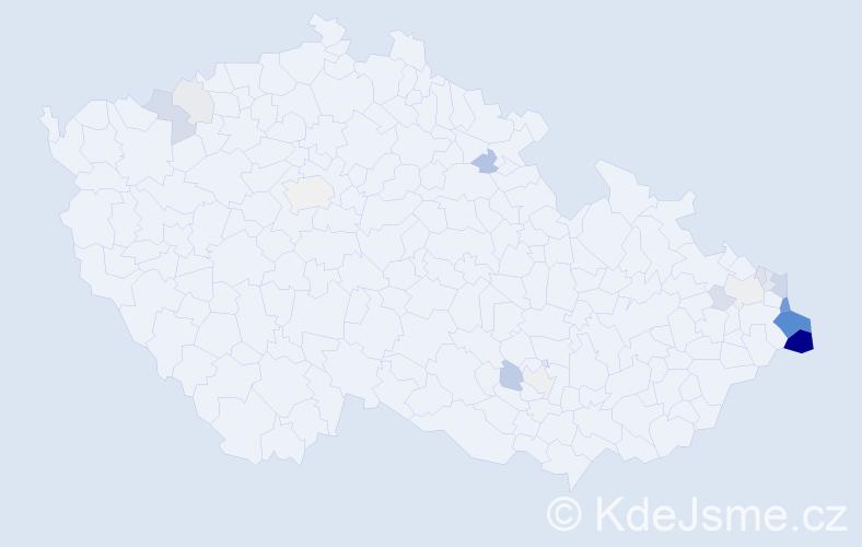 Příjmení: 'Czeczotka', počet výskytů 62 v celé ČR