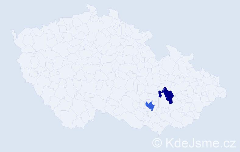 Příjmení: 'Fremml', počet výskytů 8 v celé ČR