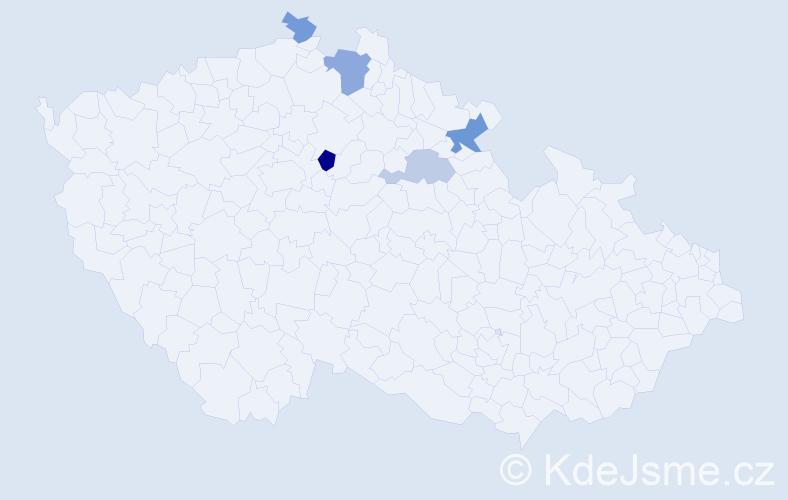 Příjmení: 'Čupelová', počet výskytů 8 v celé ČR
