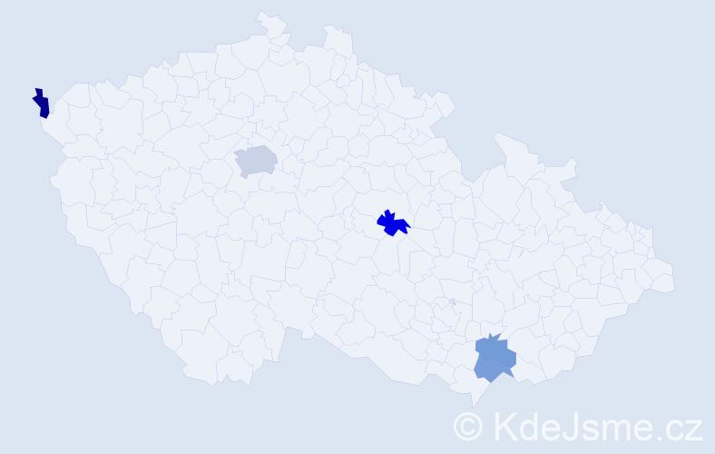 Příjmení: 'Goffová', počet výskytů 7 v celé ČR