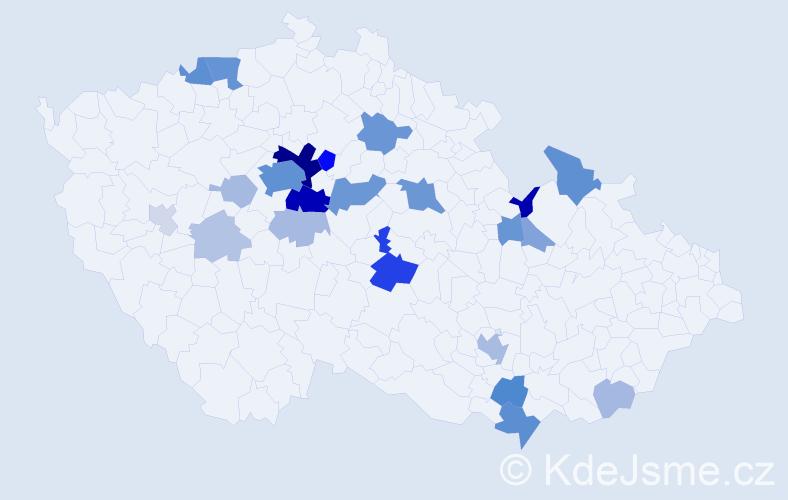 Příjmení: 'Denemark', počet výskytů 87 v celé ČR