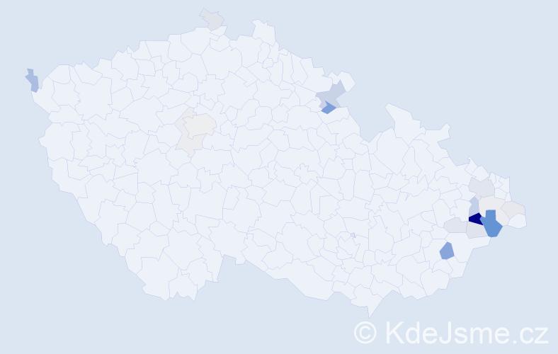 Příjmení: 'Hrachový', počet výskytů 52 v celé ČR