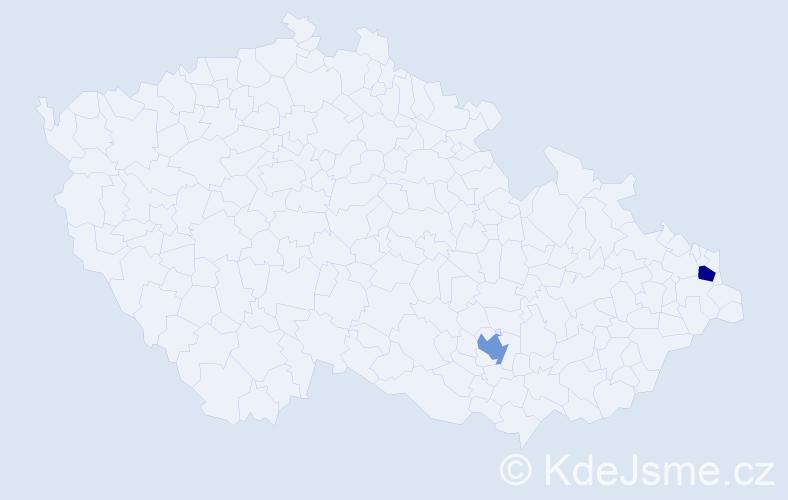 Příjmení: 'Biščáková', počet výskytů 2 v celé ČR