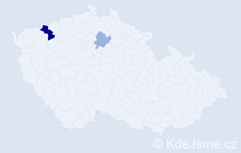 Příjmení: 'Cocca', počet výskytů 4 v celé ČR