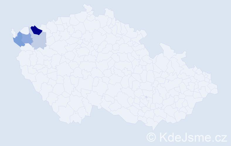 Příjmení: 'Gaveldová', počet výskytů 9 v celé ČR