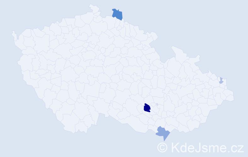 Příjmení: 'Izsófová', počet výskytů 9 v celé ČR