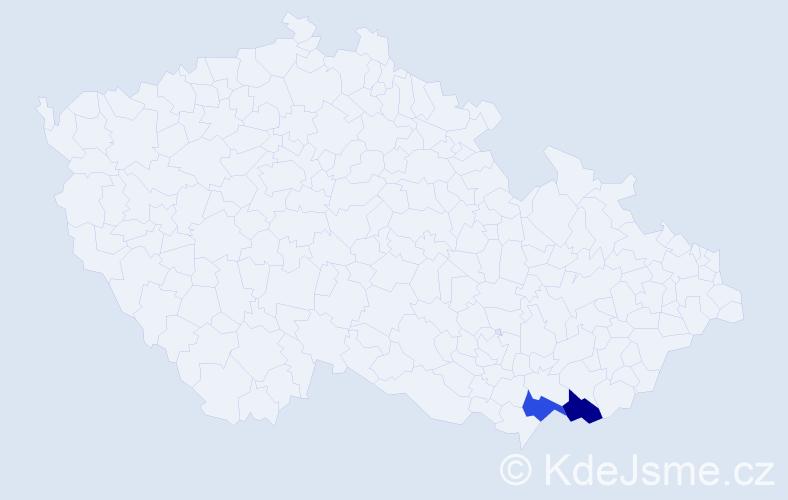Příjmení: 'Dóci', počet výskytů 2 v celé ČR