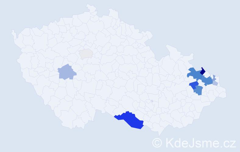 Příjmení: 'Jaglarzová', počet výskytů 27 v celé ČR