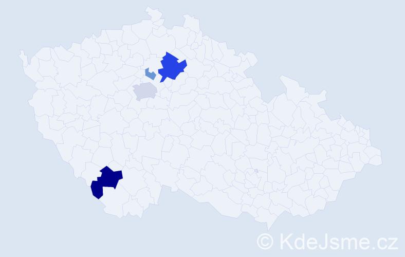 Příjmení: 'Hužera', počet výskytů 13 v celé ČR