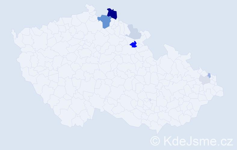 Příjmení: 'Dimlová', počet výskytů 20 v celé ČR