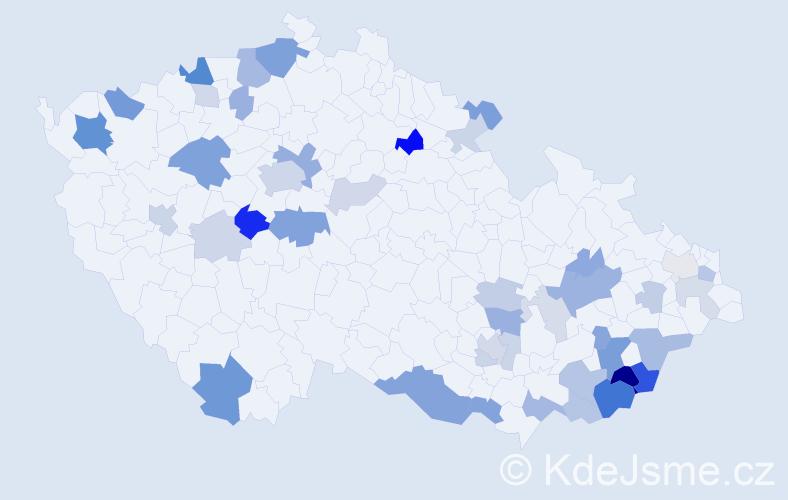 Příjmení: 'Garajová', počet výskytů 104 v celé ČR