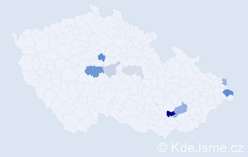 Příjmení: 'Kalfas', počet výskytů 25 v celé ČR