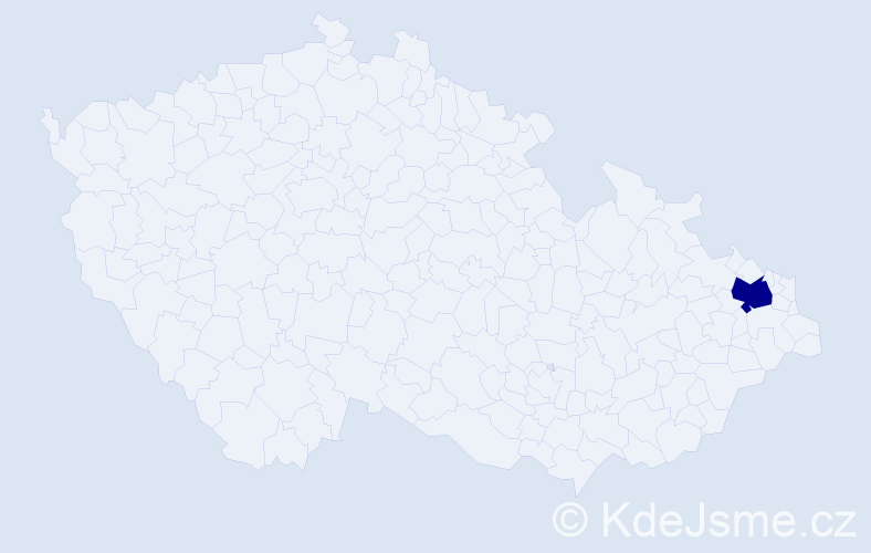 """Příjmení: '""""Giesel Priehodová""""', počet výskytů 1 v celé ČR"""