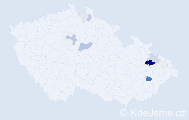 Příjmení: 'Csémi', počet výskytů 22 v celé ČR