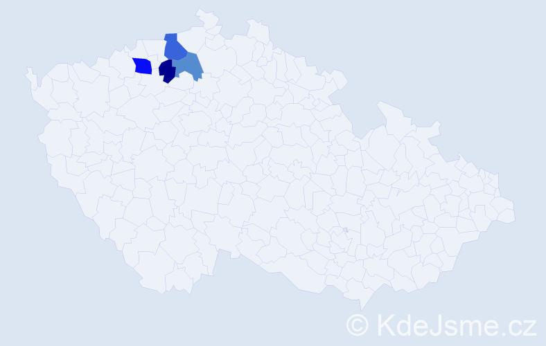 Příjmení: 'Hynl', počet výskytů 6 v celé ČR