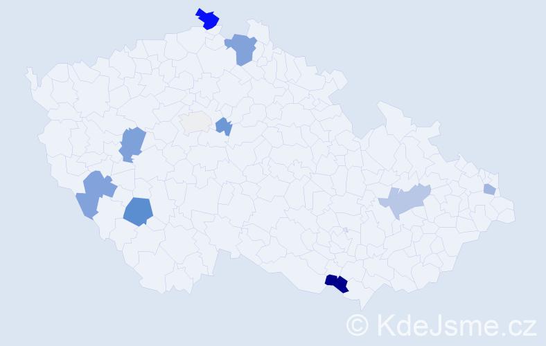 Příjmení: 'Dědíková', počet výskytů 24 v celé ČR
