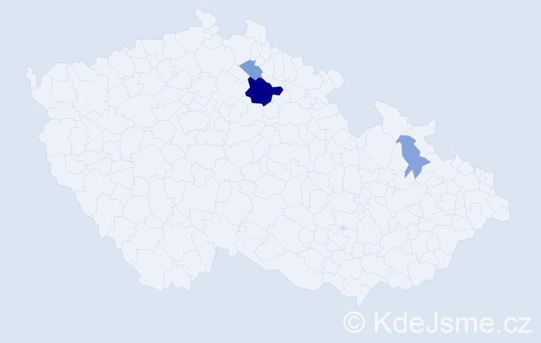 Příjmení: 'Jantulíková', počet výskytů 7 v celé ČR