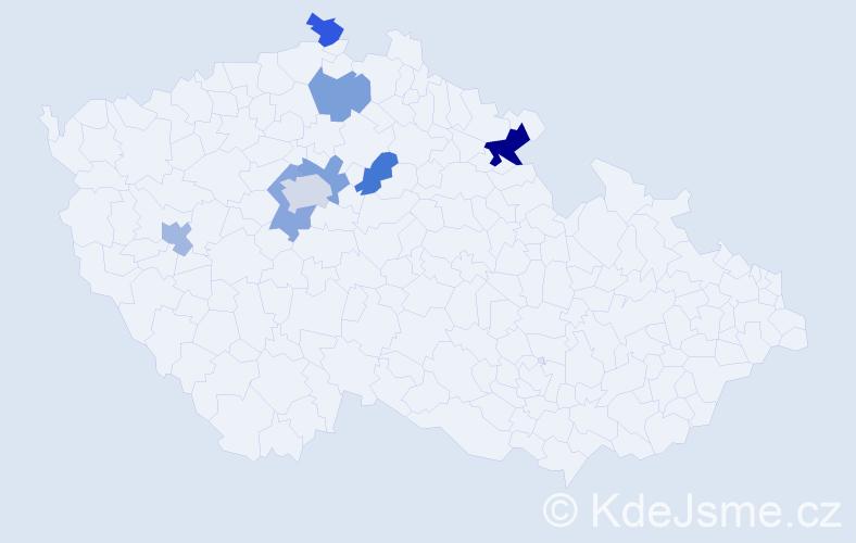 Příjmení: 'Kuchinka', počet výskytů 11 v celé ČR