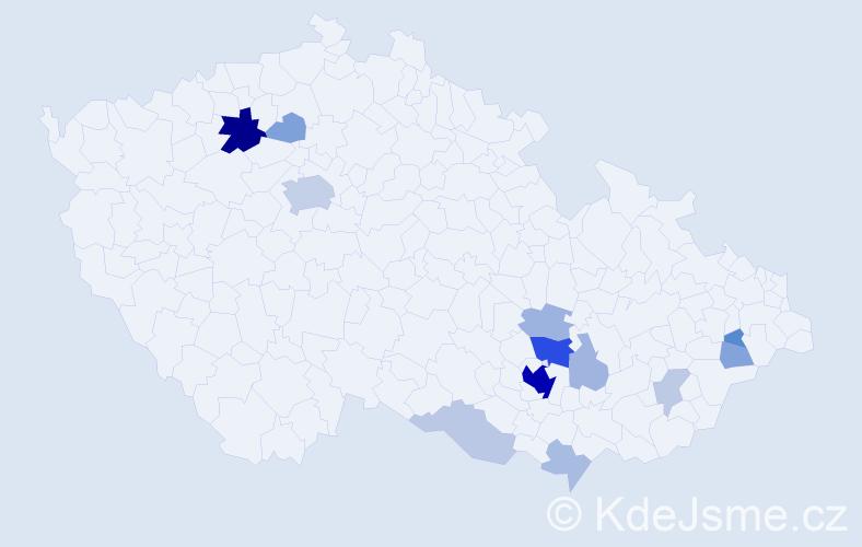 Příjmení: 'Baláč', počet výskytů 49 v celé ČR