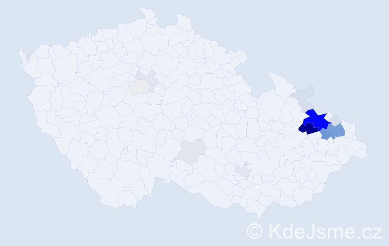 Příjmení: 'Balnar', počet výskytů 74 v celé ČR