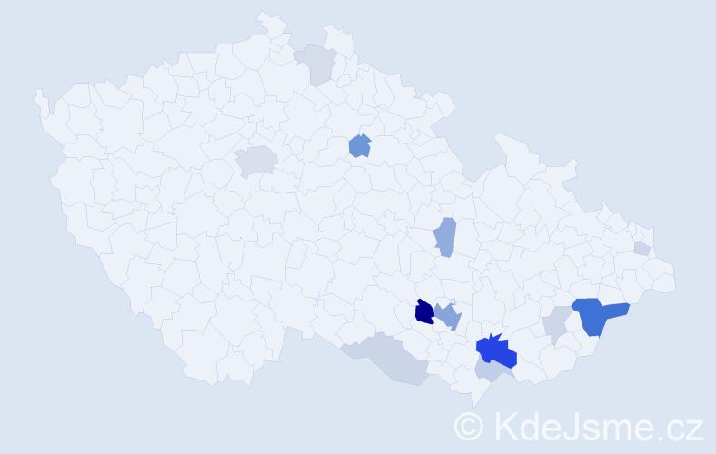 Příjmení: 'Kyslinger', počet výskytů 37 v celé ČR