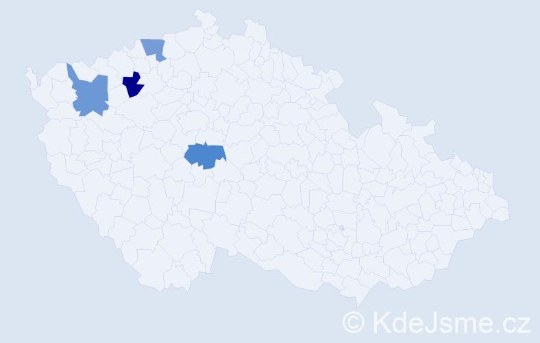 Příjmení: 'Čečerlová', počet výskytů 4 v celé ČR