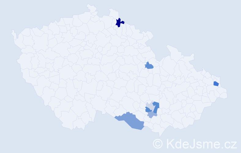 Příjmení: 'Legindi', počet výskytů 27 v celé ČR
