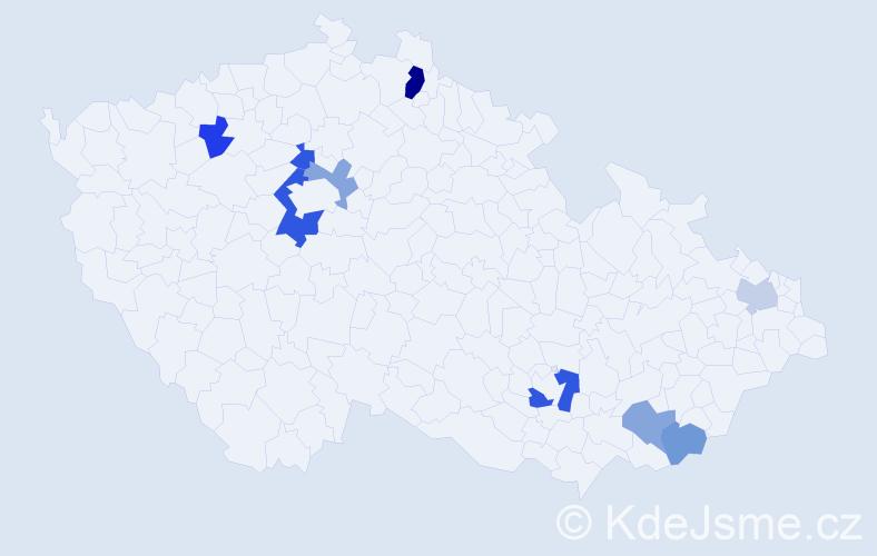 Příjmení: 'Ilenčíková', počet výskytů 14 v celé ČR