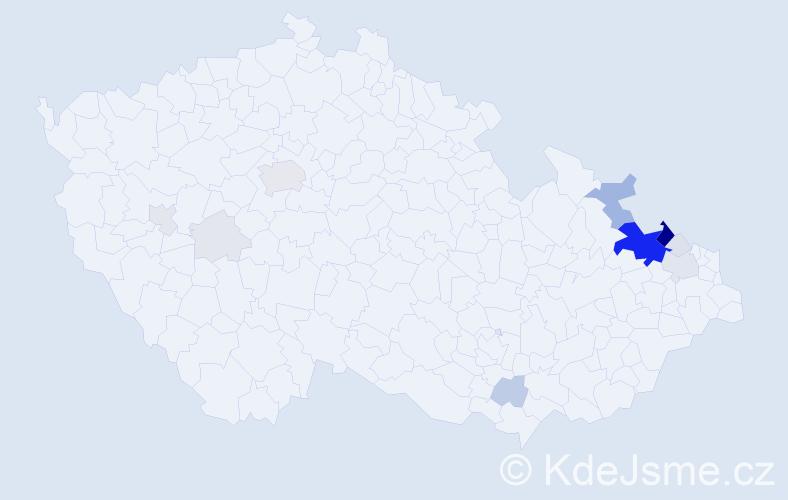Příjmení: 'Gregořicová', počet výskytů 68 v celé ČR