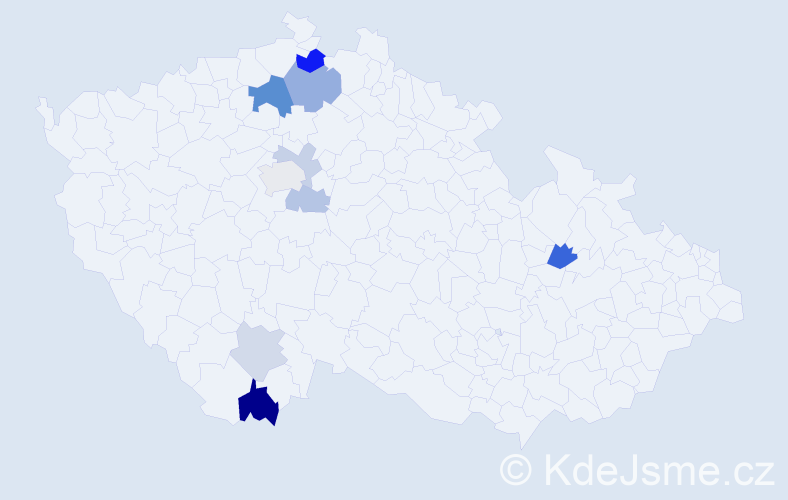 Příjmení: 'Blumtritt', počet výskytů 19 v celé ČR