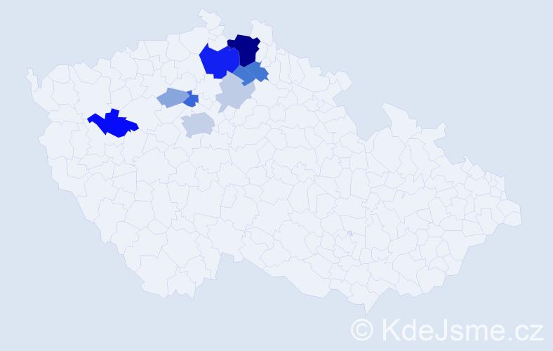 Příjmení: 'Dneboská', počet výskytů 34 v celé ČR