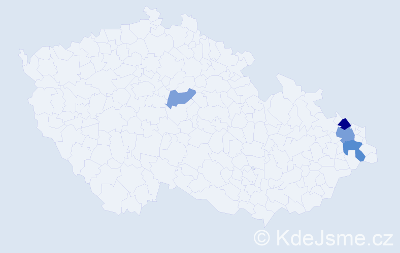 Příjmení: 'Holona', počet výskytů 8 v celé ČR