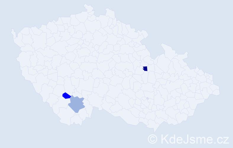 Příjmení: 'Haky', počet výskytů 5 v celé ČR