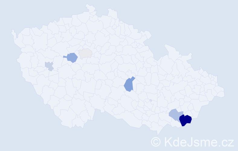 Příjmení: 'Bochin', počet výskytů 10 v celé ČR