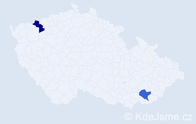 Příjmení: 'Čókáš', počet výskytů 2 v celé ČR