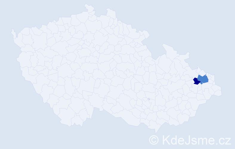 Příjmení: 'Ladiniková', počet výskytů 5 v celé ČR