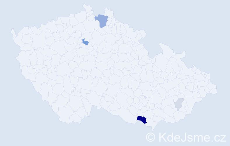 Příjmení: 'Blusková', počet výskytů 11 v celé ČR