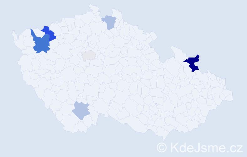 Příjmení: 'Ehlich', počet výskytů 11 v celé ČR