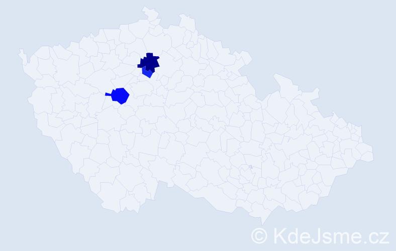 Příjmení: 'Jeránková', počet výskytů 5 v celé ČR