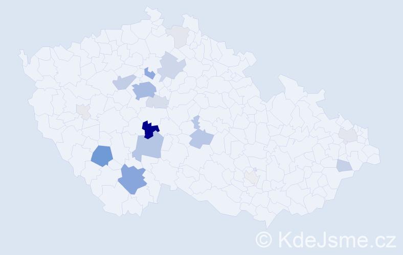 Příjmení: 'Cikhart', počet výskytů 70 v celé ČR