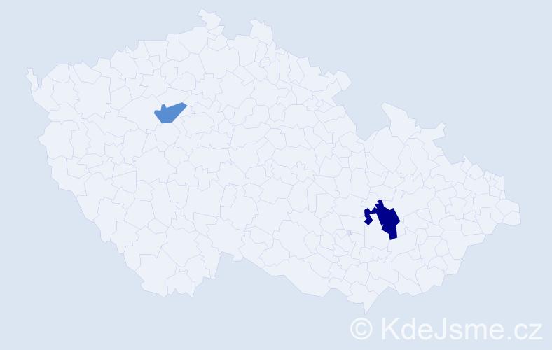 Příjmení: 'Doba', počet výskytů 3 v celé ČR