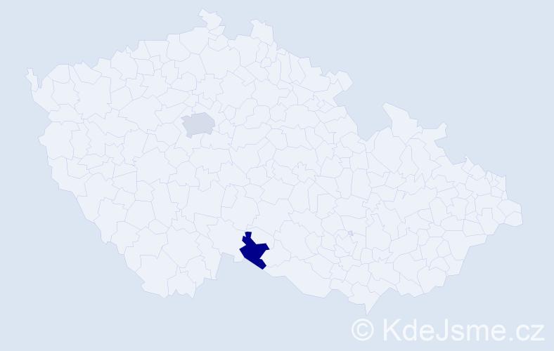 Příjmení: 'Delaporte', počet výskytů 3 v celé ČR