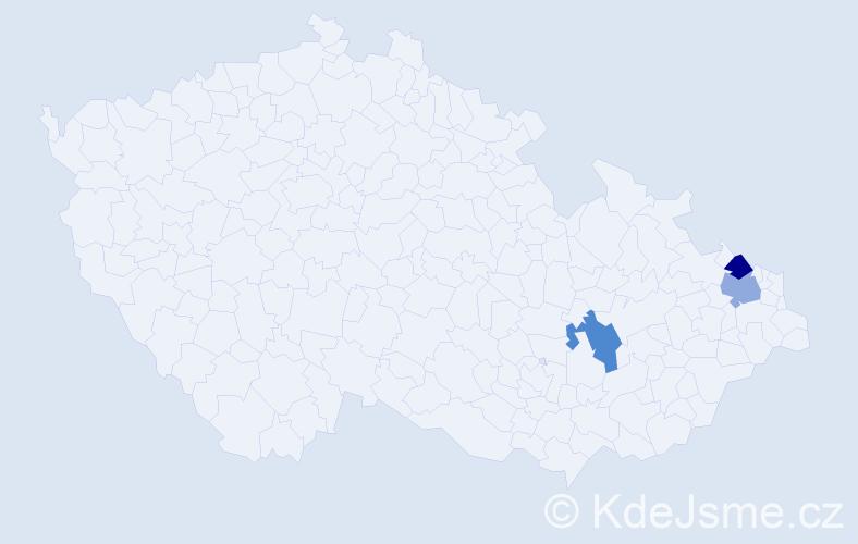 Příjmení: 'Čechaček', počet výskytů 9 v celé ČR