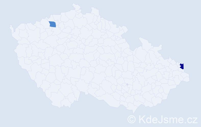 Příjmení: 'Čmiľ', počet výskytů 6 v celé ČR