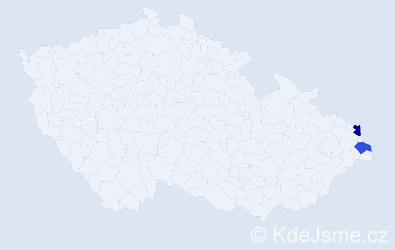 Příjmení: 'Ciliová', počet výskytů 3 v celé ČR