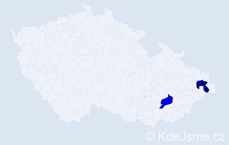 Příjmení: 'Lacuš', počet výskytů 5 v celé ČR