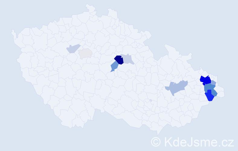 Příjmení: 'Doležílek', počet výskytů 40 v celé ČR