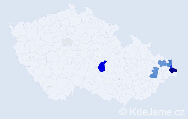 Příjmení: 'Kalník', počet výskytů 17 v celé ČR