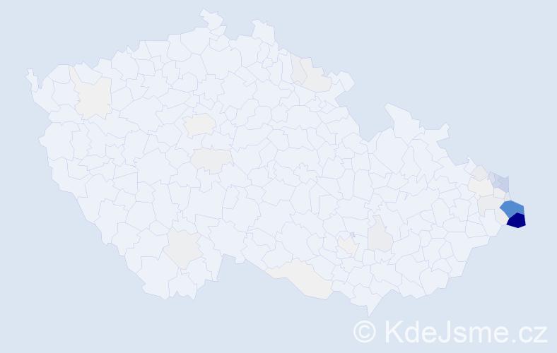 Příjmení: 'Cieślarová', počet výskytů 197 v celé ČR